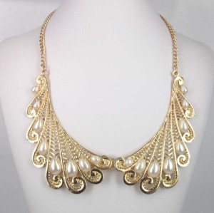 N-2813 Charming  Drop Pearl Gold Plated Metal Hollow Out Lace Fashion Choker Necklace