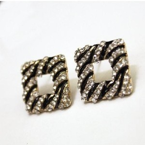 E-1613 Fashion Lovely Zebra Stripe Enamel Rhinestone Square Ear Stud  Earrings