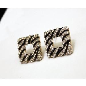 E-1613 Fashion Lovely Zebra Stripe Enamel Rhinestone Square Ear Stud  Earrings