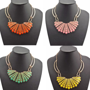 N-0758 Bohemian Color Choose Jewellery Round Beads Golden Choker Bib Collar Necklace