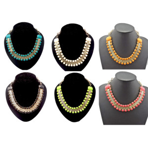 New European Style Gold Tone Metal Resin Stone Gem Choker Beautiful Bib Necklace N-0266