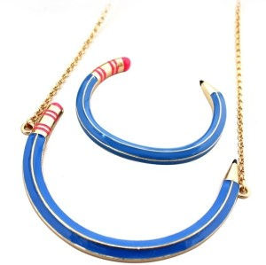 S-0011 Womens Funny Blue Enamel Golden Pencil Cuff Bangle Collar Necklace Choose Style