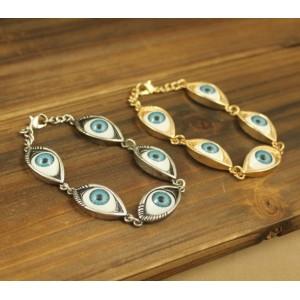 S-0062 Vintage Style Silver/Bronze Evil Eye Cool Charms Bracelet