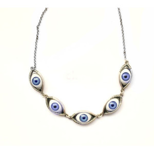 S-0062-N New Design Hot Sale Vintage Style Silver Evil Eye Charms Necklace