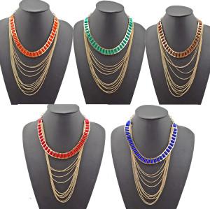 N-1029 Bohemian Stripe Ribbon Multi Strand Golded Chain Tassel Boho Choker Necklace