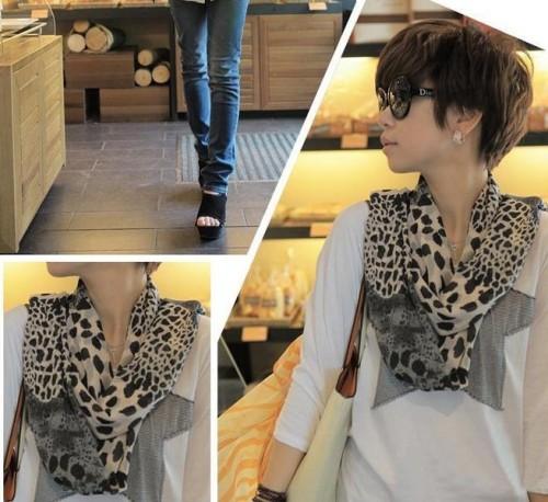 C-0008 2012 Korean new woman scarf Europe leopard scarf velvet Chiffon Scarf