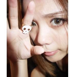 R-0047 New Hot Double Face White/Black Enamel Golden Skull Fingers Ring #5.5