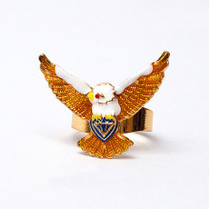R-0216 New Design White Enamel Bird Eagle Golden Fly Wing Fingers Ring Adjustable