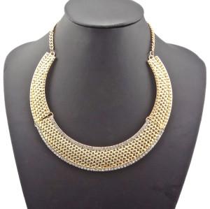 N-2081 Hot Vintage Gold Rhinestone Chunky Hammered Metal Bib Collar Necklace