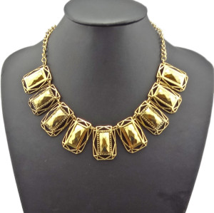 N-1814 Costume Jewelry Retro Gold Metal Rectangle Chunky Bib Chain Choker Necklace