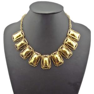 N-1814 Costume Jewelry Retro Gold Metal Rectangle Chunky Bib Chain Choker Necklace