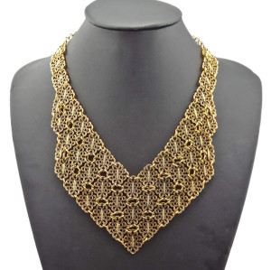 N-1820 Vintage Style Metal Hollow Flower Scarf V Shape Chunky Collar Necklace