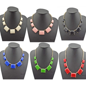 N-4587 New Facets Resin Gemstone Rectangle Golden Chunky Bib Necklace Color Choose