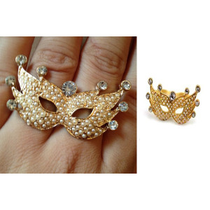 R-1057 Gothic Faux Pearl Crystal Rock Cosplay Party Mask Double Finger Ring