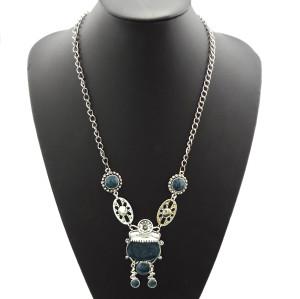 Vintage style silver Tone Glazed Flower Girl Acatar Pendant Necklace