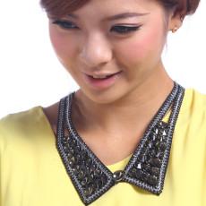 N-2256 Ladies Round Crystal Black Cotton V Sharp Choker Collar Necklace
