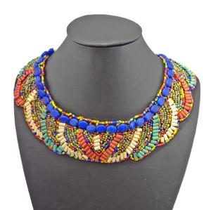 N-2253 Bohemian Multi Colors Beads Lace Pattern Choker Boho Collar Necklace
