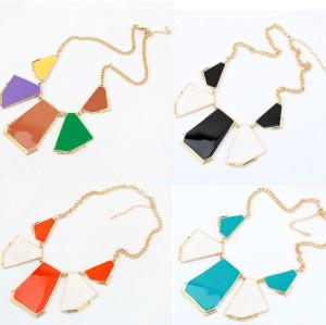 N-4570 Golden Enamel Geometry Pattern Charms Choker Bib Necklace Women's Jewellery