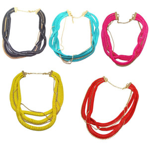 N-1050 Multi Strands Beads Chunky Snake Wide Chain Flat Curb Link Statement Necklace  N-1050