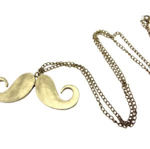 N-2829 Wholesale 2Pcs Big Handlebar Beard Mustache Pendant Long Chain Necklace