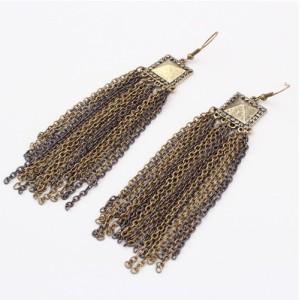 E-0028 European style gun black rhinestone Metal chain tassel earrings