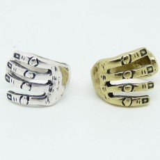 R-1009 wholesale 2pcs bronze silver metal hand shape opened ring #6.5