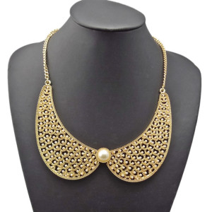 N-2103 Womens New Faux Pearl Hollow Out Golden Choker False Collar Necklace Jewelery