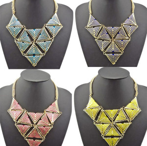 N-4595 Vintage Style Geometry triangle Celebrity Inspired Urban Diva Statement Bib Necklace