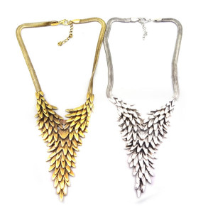 N-2855 Ladie Hot Chunky Flat Snake Chain Multi Layer Metal Feather Bib Necklace