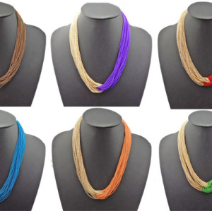 N-1037 Bohemia Multi Strands Chains Boho Choker Bib Necklace Colors Choose