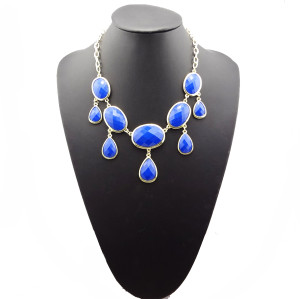 N-0784 European style geometry Facets gems drip choker statement necklace