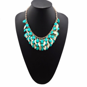 N-0766 Bohemia style multi  golden leaves crystal drip fruit gem choker necklace