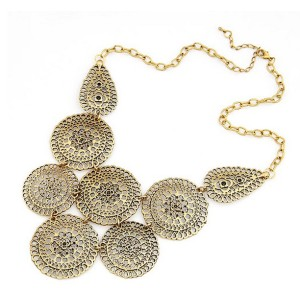N-1779 Vintage Style gold metal hollow out flower all-match choker bib Necklace