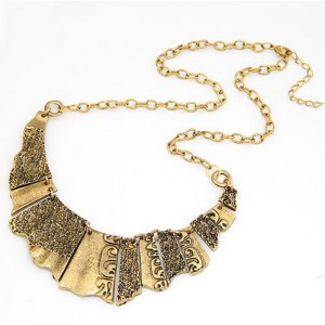 N-1815 Vintage style pieces gold metal carving suit choker bib Necklace