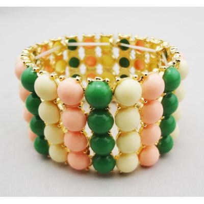B-0009 korean style Multi color gold plated metal resin beads stretch bangel bracelet