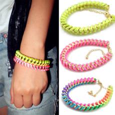 B-0001 New Coming Fashion Lovely Golden Metal Silk Rope Handmade Bracelet