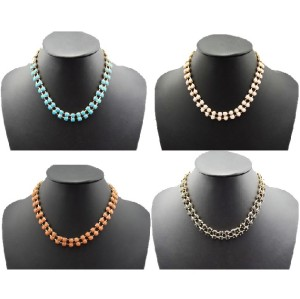 N-0260 koreab style statement gold plated resin gem choker  Necklace