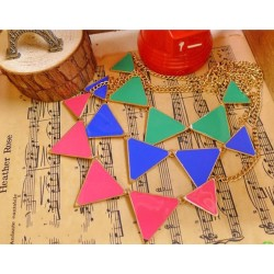 N-4565 New Arrival Cute Fashion Gold Plated Metal Enamel Triangle Charming Choker Necklace