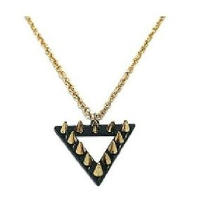 N-4545 New Punk Cool Fashion Black Triangle With Golden Rivet Pendant Long Chain Necklace