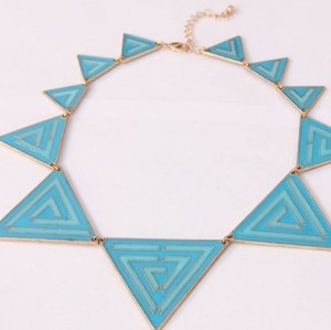 N-4529 New  Punk Fashion Charms Golden Metal Blue Enamel Triangle Chain Necklace