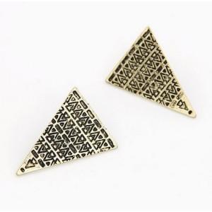 E-2022 New Arrival Vintage Style Bronze/Silver Triangle Shield Ear Stud Earring