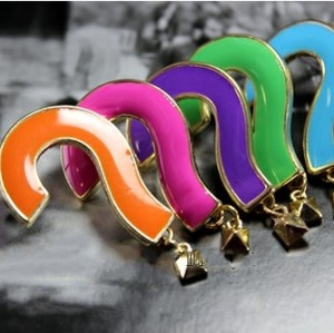 E-2052 New Fashion Gold Plated Metal Enamel Question Mark Exclamatory Mark  Ear Stud Earring