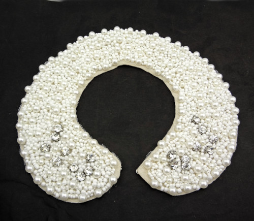 handmade black/white lace gun black pearl beads clear crystal collar N-2049