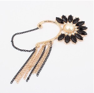 E-0576 New Rhinestone Crystal Pearl Sunflower Flower Chain Tassel Ear Cuff Earring