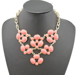 N-0776 New  Resin GemStone Charms Golden Flower Choker Bib Necklace