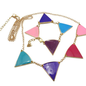 gold plated glazed triangle geometrical bracelet necklace set  N-4546  B-0025
