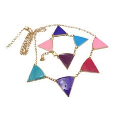 gold plated glazed triangle geometrical bracelet necklace set  N-4546  B-0025