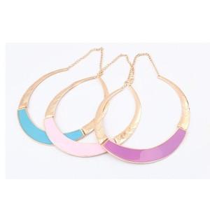 N-4568 New Enamel Metal Gold Choker Bib Collar Necklace