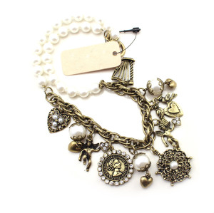 N-4806 New Heart Bird Angel Notre Dame de Paris Charms Pearl Choker Necklace