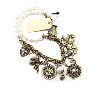 N-4806 New Heart Bird Angel Notre Dame de Paris Charms Pearl Choker Necklace